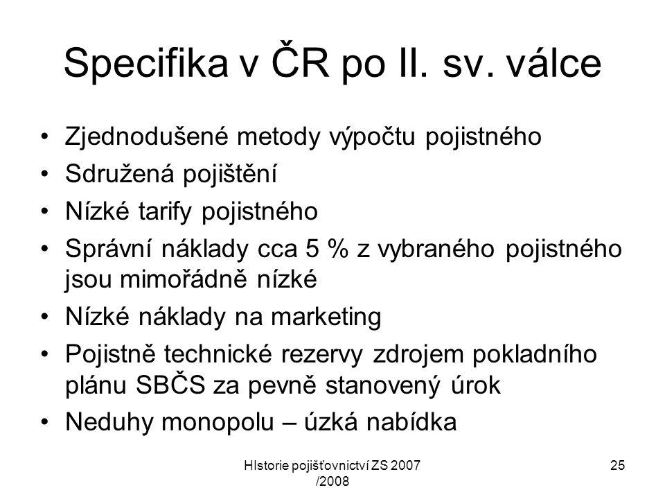 Specifika v ČR po II. sv. válce