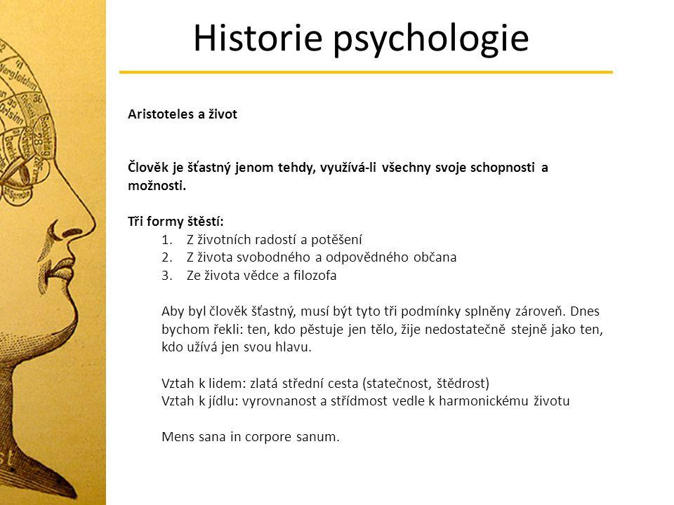 Historie psychologie Aristoteles a život
