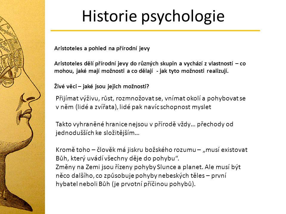 Historie psychologie Aristoteles a pohled na přírodní jevy.
