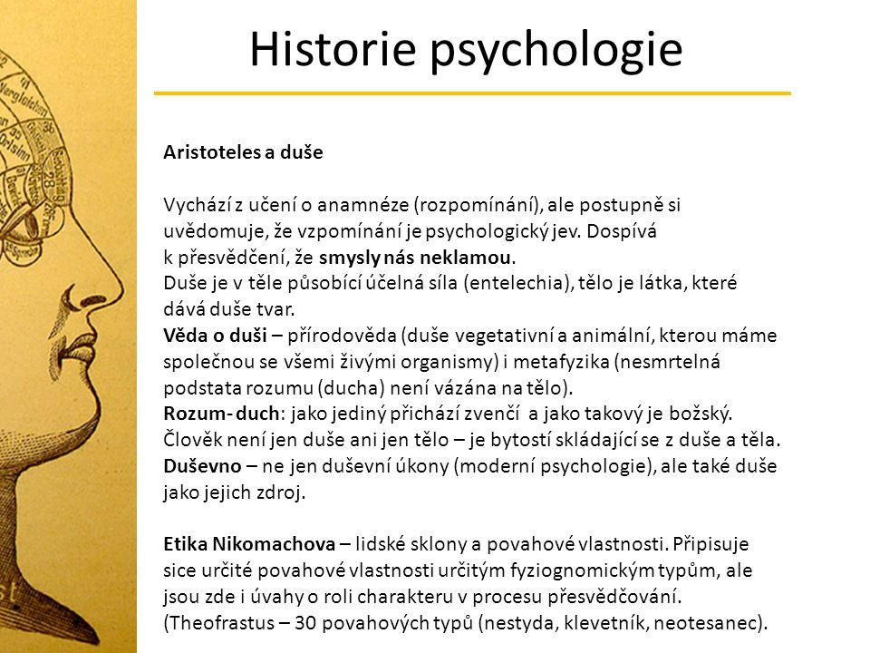 Historie psychologie Aristoteles a duše