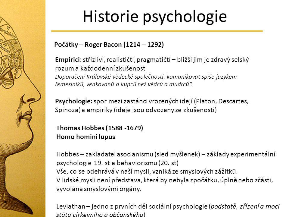 Historie psychologie Počátky – Roger Bacon (1214 – 1292)