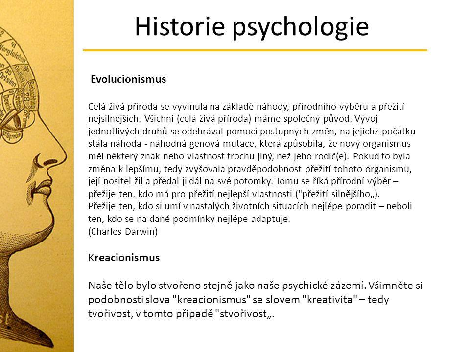 Historie psychologie Evolucionismus Kreacionismus