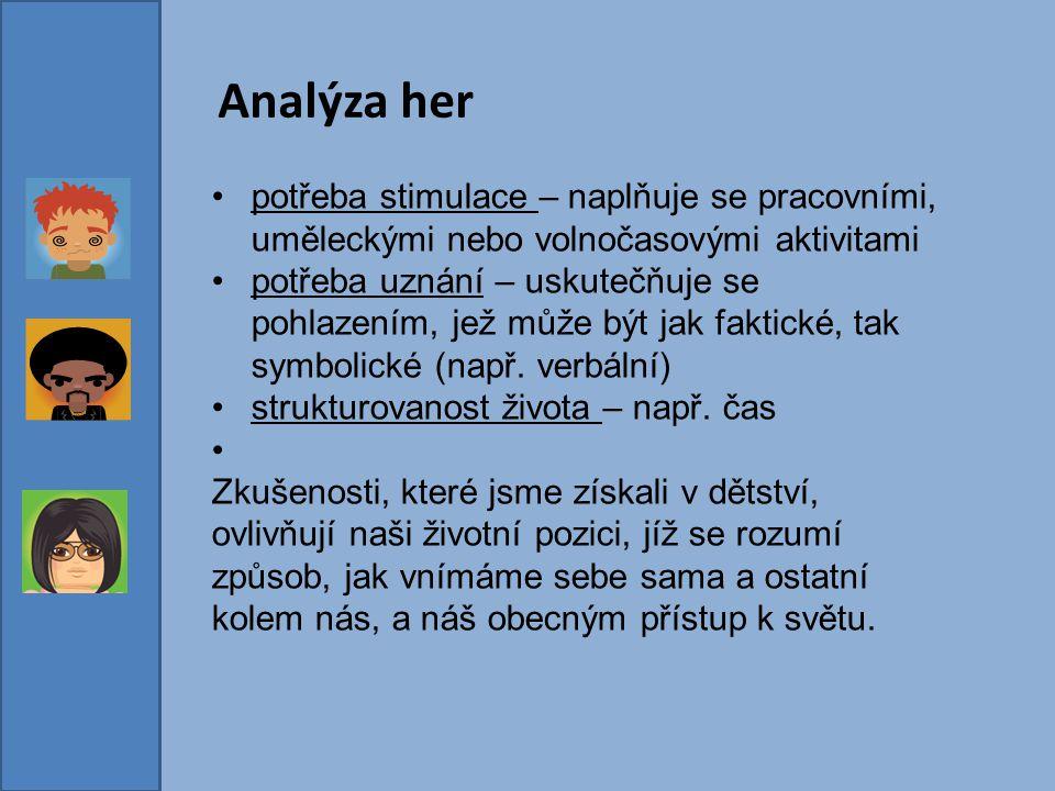 Analýza her potřeba stimulace – naplňuje se pracovními, uměleckými nebo volnočasovými aktivitami.