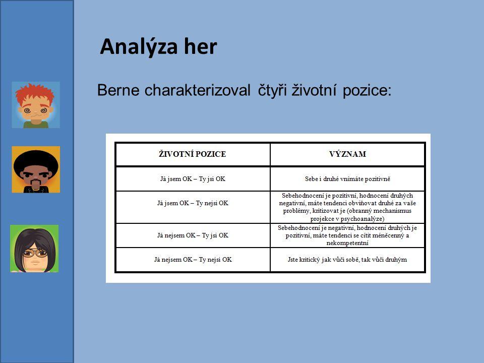Analýza her Berne charakterizoval čtyři životní pozice: