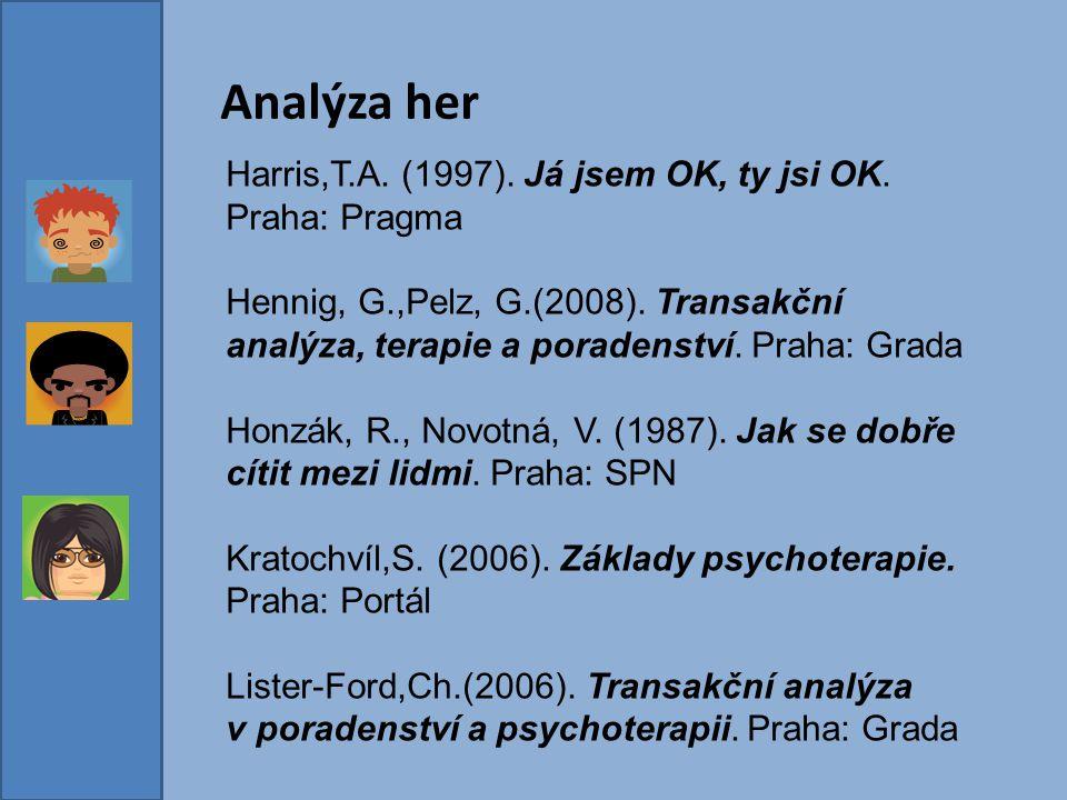 Analýza her Harris,T.A. (1997). Já jsem OK, ty jsi OK. Praha: Pragma