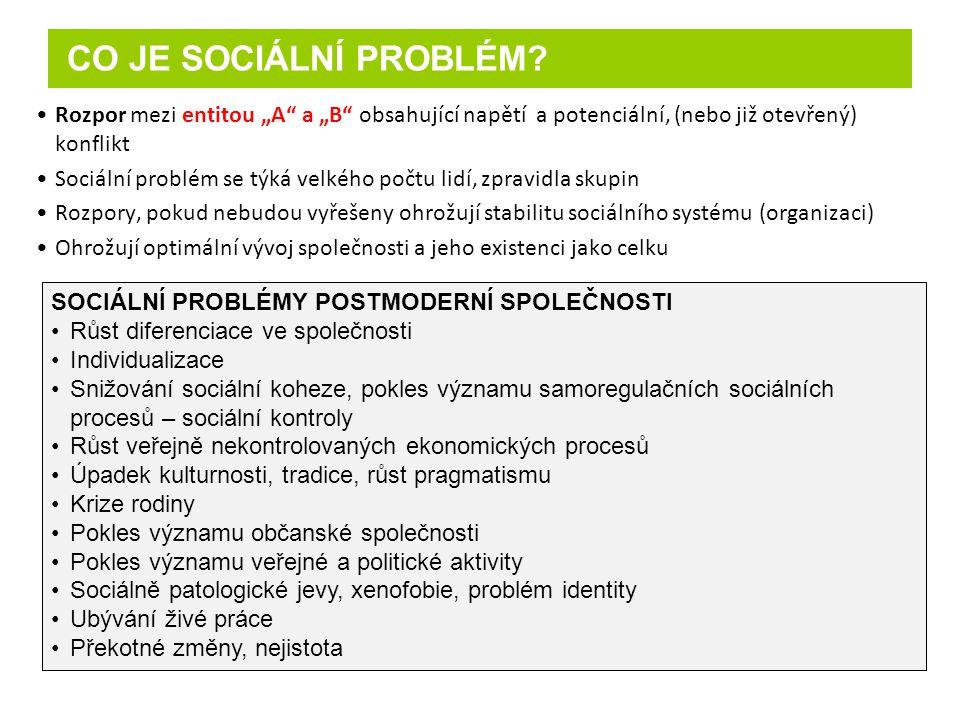 """CO JE SOCIÁLNÍ PROBLÉM Rozpor mezi entitou """"A a """"B obsahující napětí a potenciální, (nebo již otevřený) konflikt."""