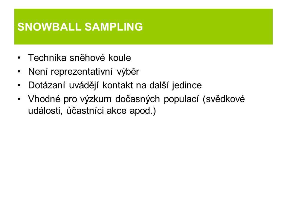 SNOWBALL SAMPLING Technika sněhové koule Není reprezentativní výběr