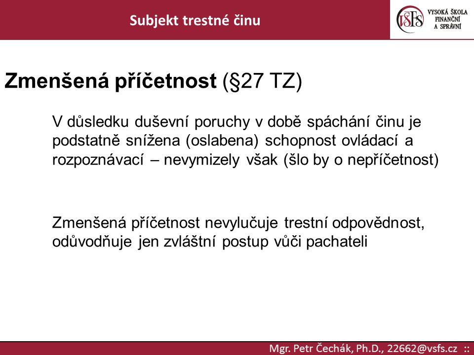 Zmenšená příčetnost (§27 TZ)