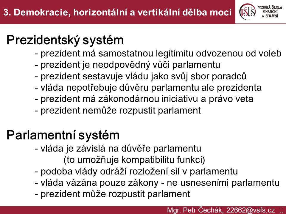 3. Demokracie, horizontální a vertikální dělba moci