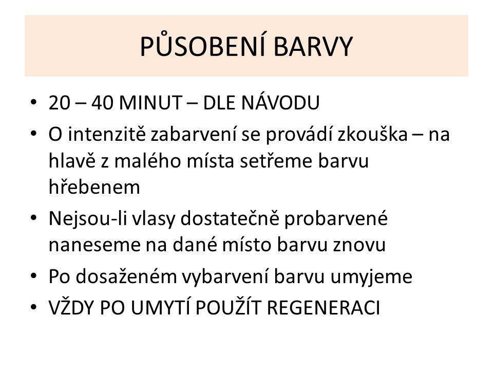 PŮSOBENÍ BARVY 20 – 40 MINUT – DLE NÁVODU