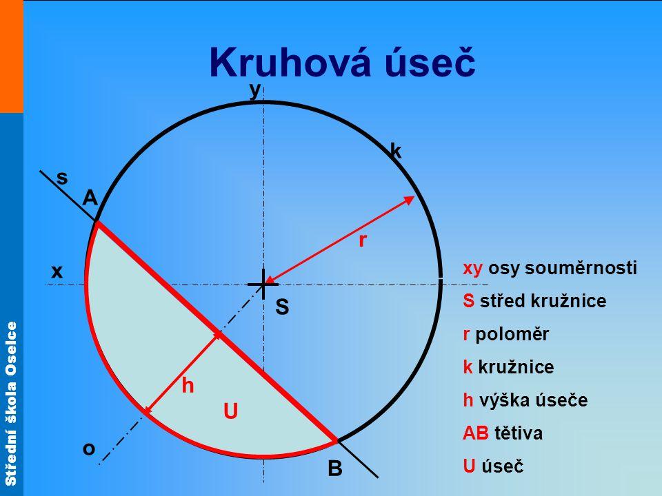 Kruhová úseč y k s A r x S h U o B xy osy souměrnosti S střed kružnice
