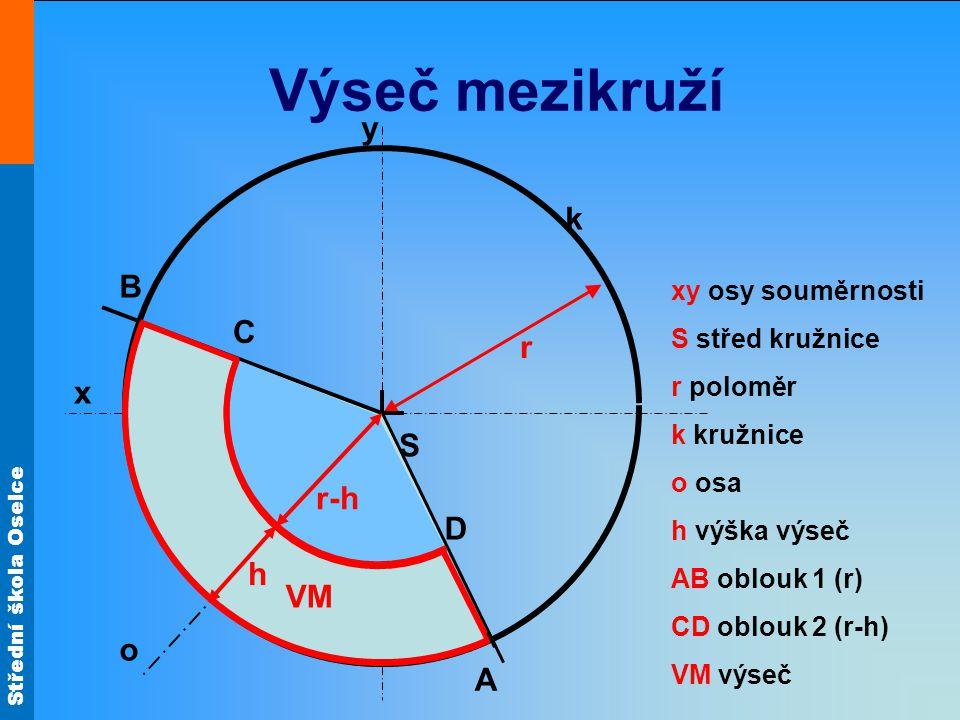Výseč mezikruží y k B C r x S α r-h D h VM o A xy osy souměrnosti