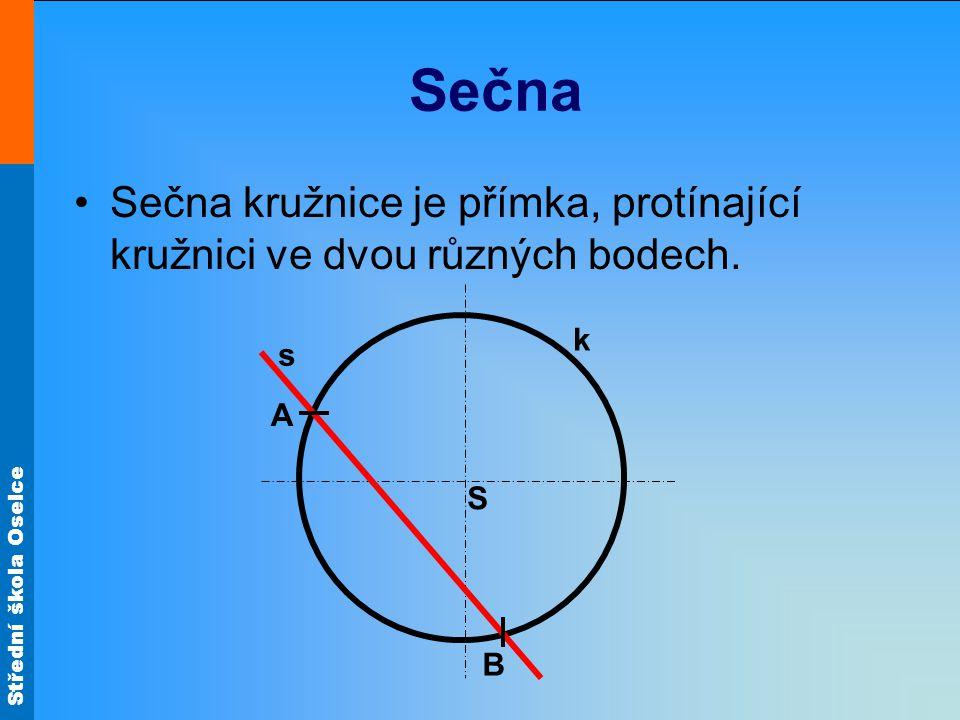 Sečna Sečna kružnice je přímka, protínající kružnici ve dvou různých bodech. k s A S B