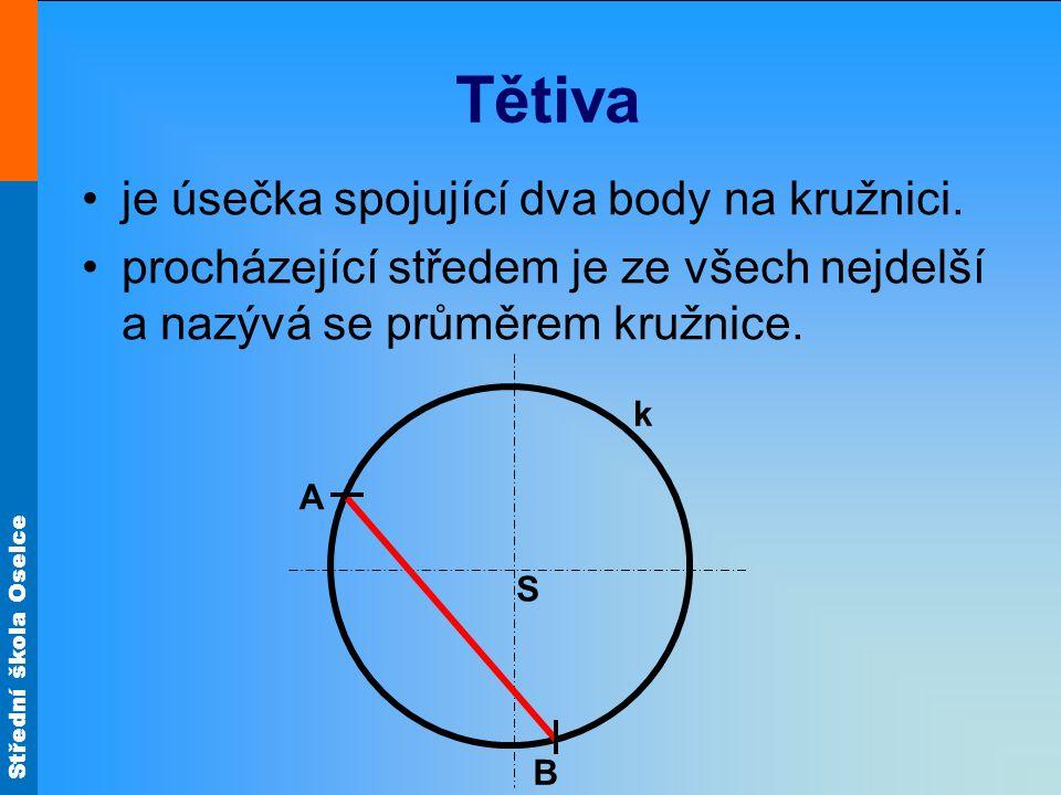 Tětiva je úsečka spojující dva body na kružnici.