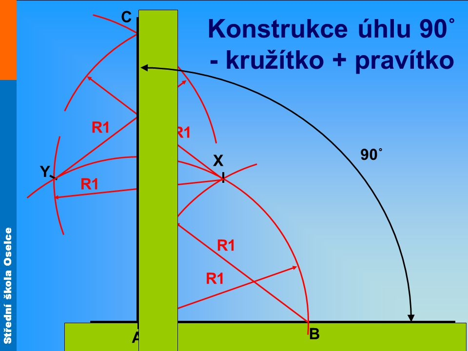 Konstrukce úhlu 90˚ - kružítko + pravítko