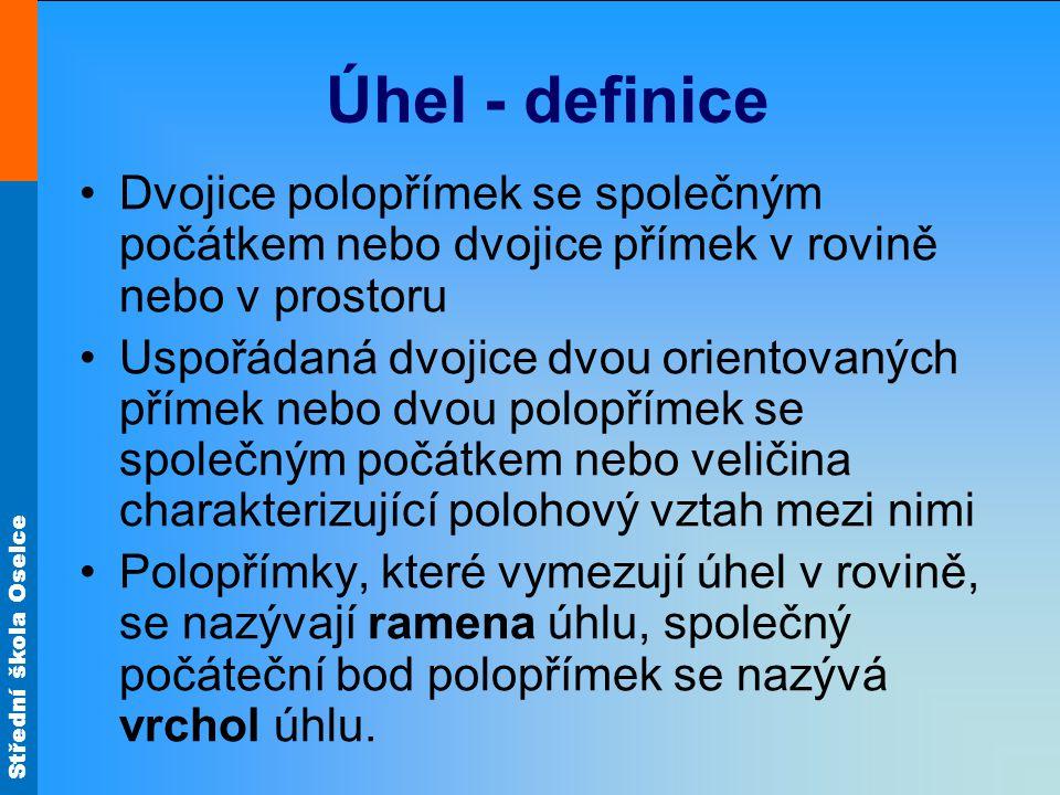 Úhel - definice Dvojice polopřímek se společným počátkem nebo dvojice přímek v rovině nebo v prostoru.