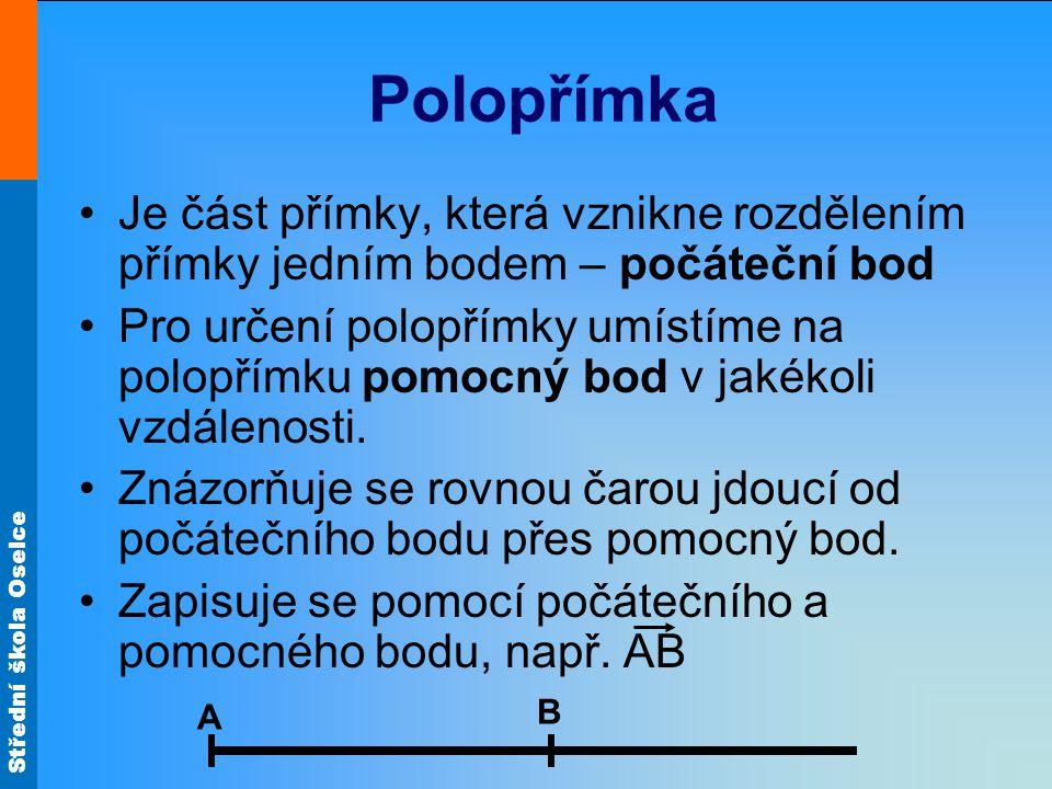 Polopřímka Je část přímky, která vznikne rozdělením přímky jedním bodem – počáteční bod.