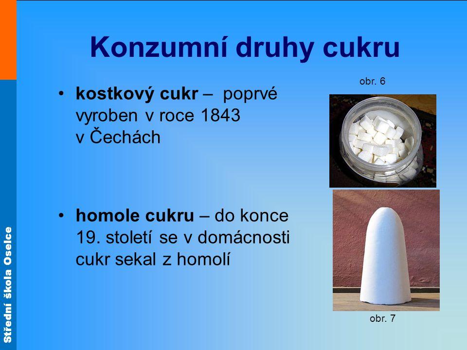 Konzumní druhy cukru obr. 6. kostkový cukr – poprvé vyroben v roce 1843 v Čechách.
