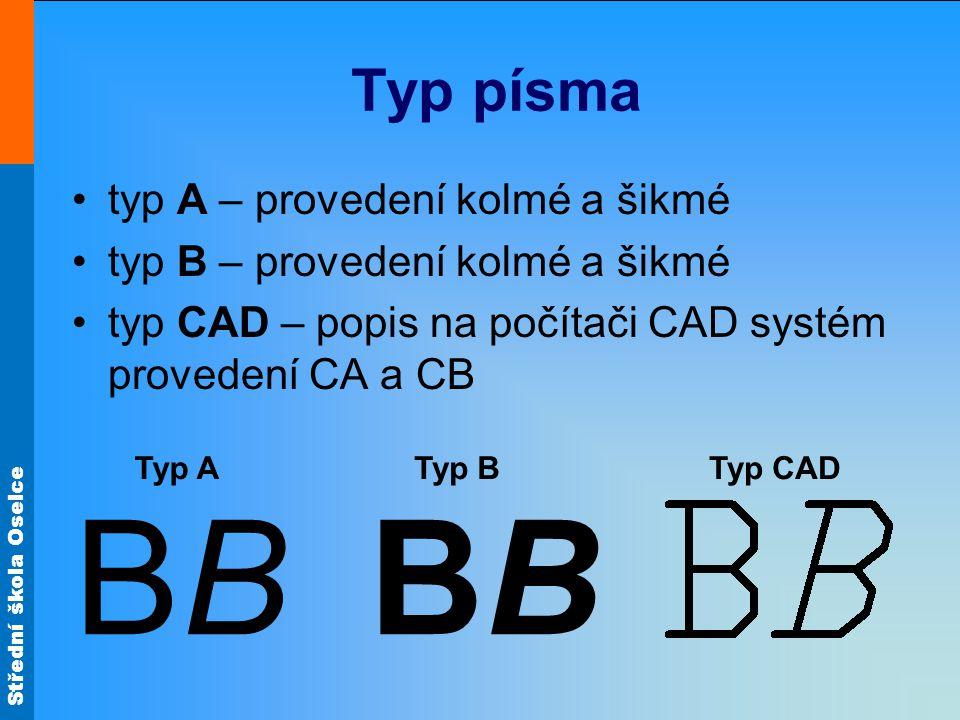 BB BB Typ písma typ A – provedení kolmé a šikmé