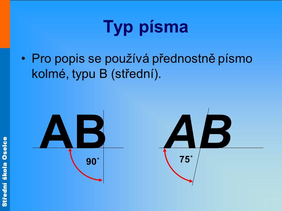 Typ písma Pro popis se používá přednostně písmo kolmé, typu B (střední). AB 90˚ AB 75˚