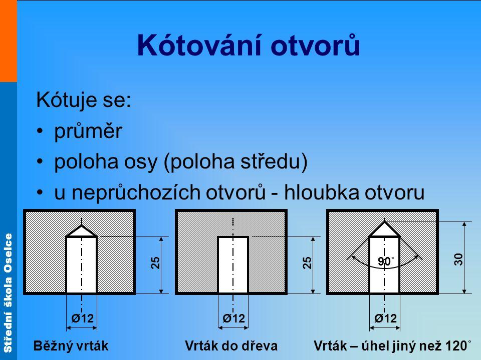 Kótování otvorů Kótuje se: průměr poloha osy (poloha středu)