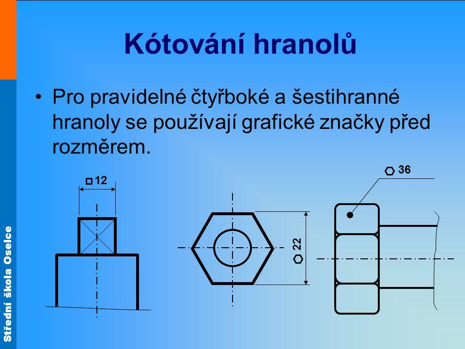 Kótování hranolů Pro pravidelné čtyřboké a šestihranné hranoly se používají grafické značky před rozměrem.