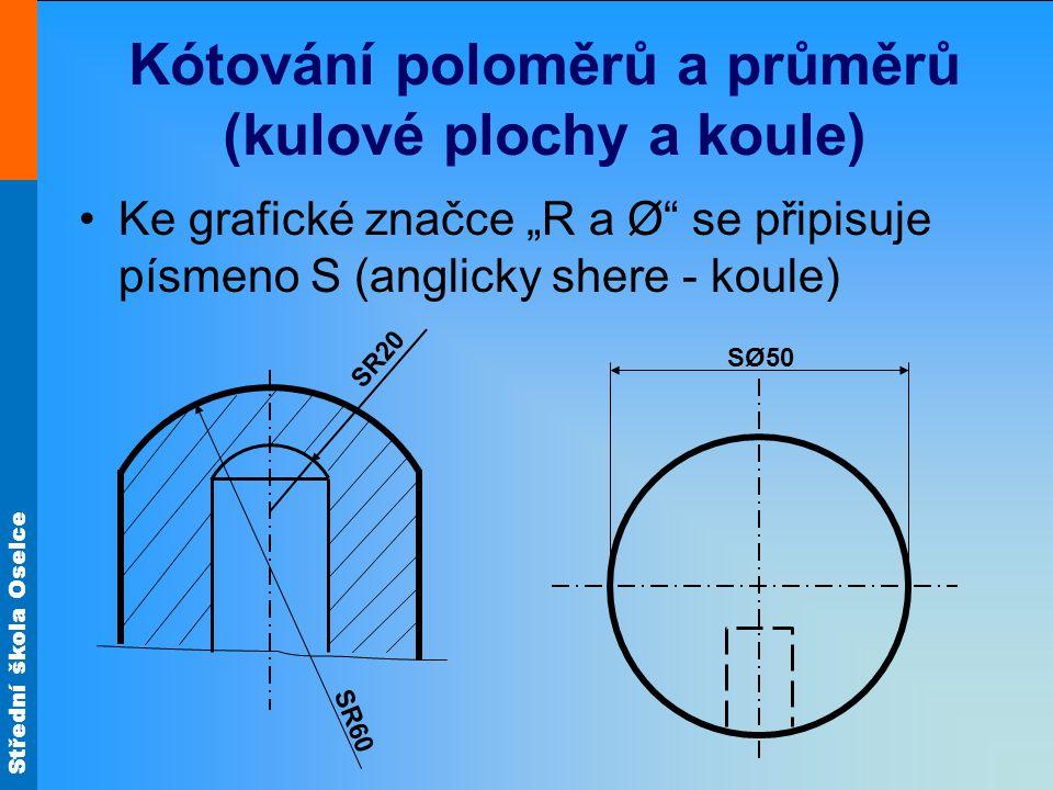 Kótování poloměrů a průměrů (kulové plochy a koule)