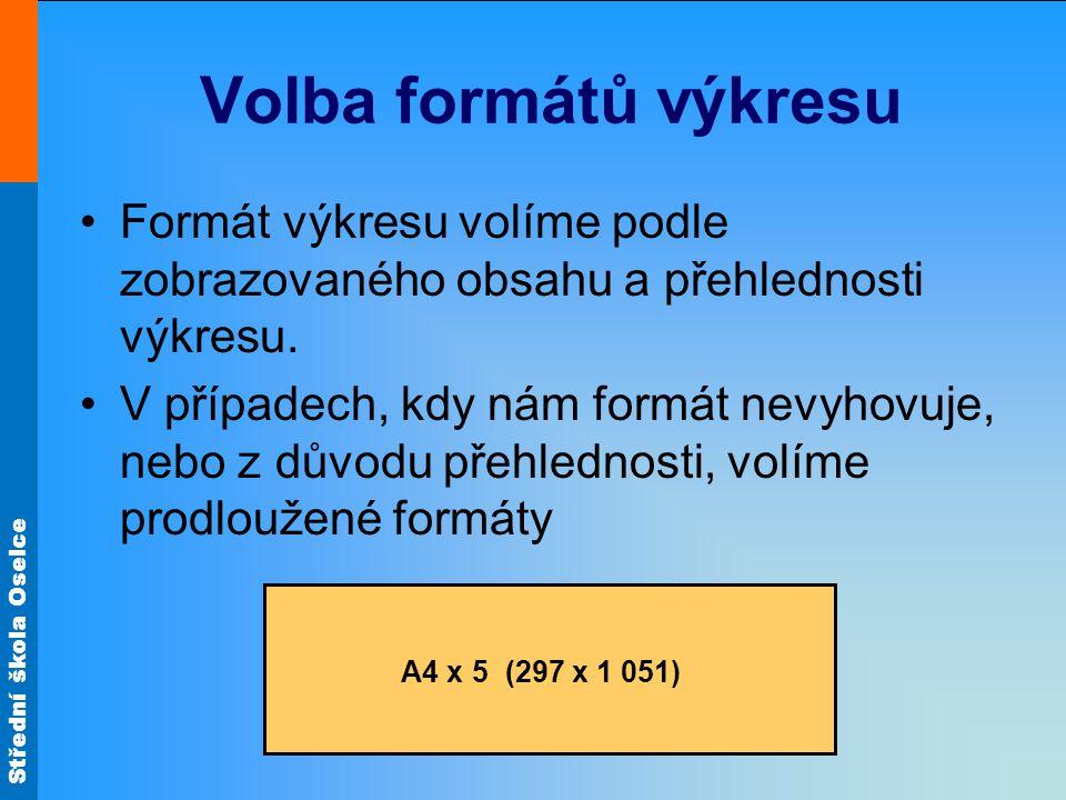 Volba formátů výkresu Formát výkresu volíme podle zobrazovaného obsahu a přehlednosti výkresu.