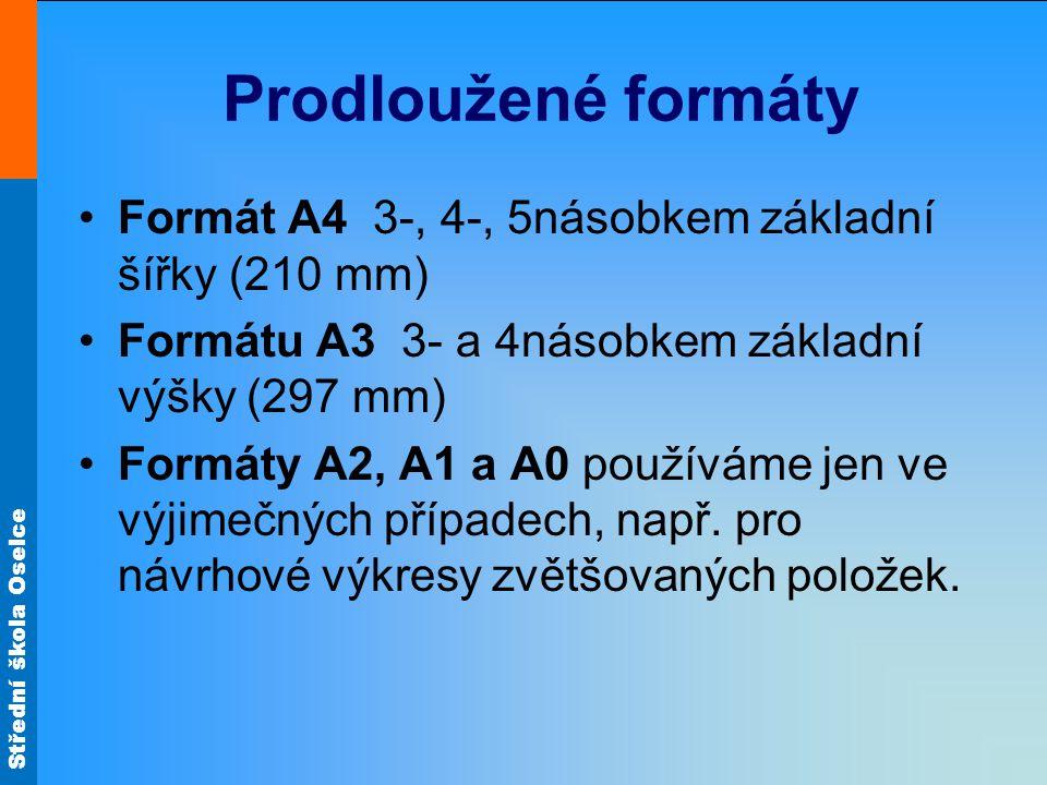 Prodloužené formáty Formát A4 3-, 4-, 5násobkem základní šířky (210 mm) Formátu A3 3- a 4násobkem základní výšky (297 mm)