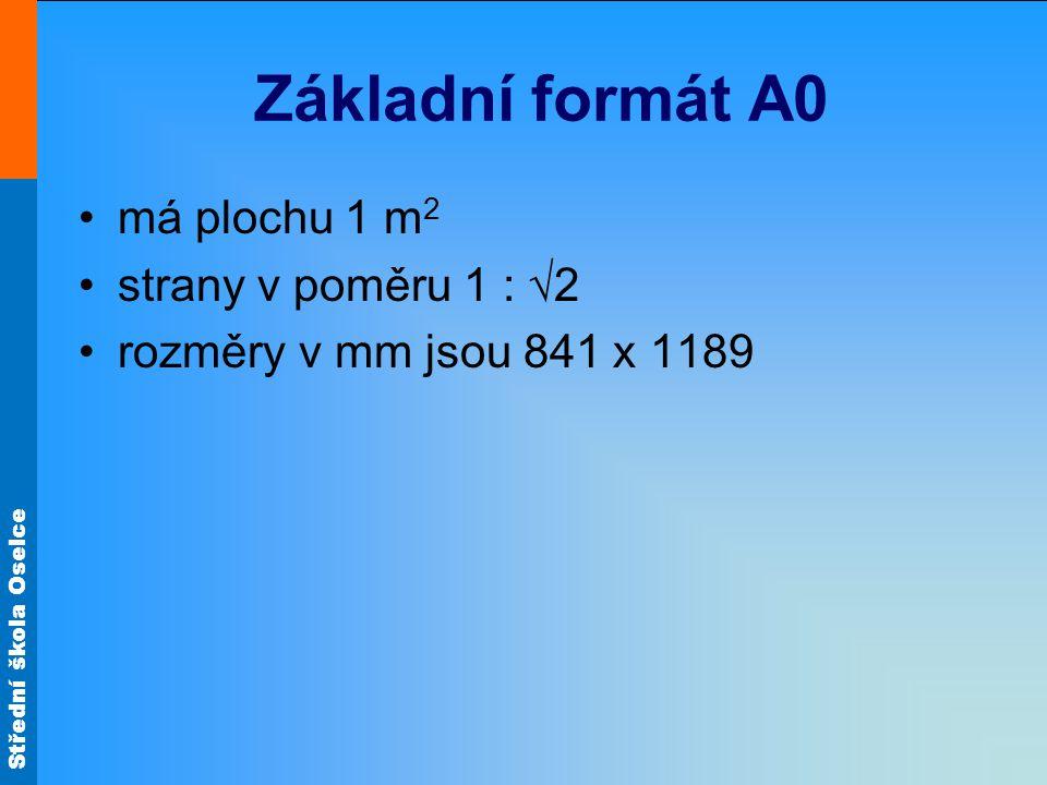 Základní formát A0 má plochu 1 m2 strany v poměru 1 : √2