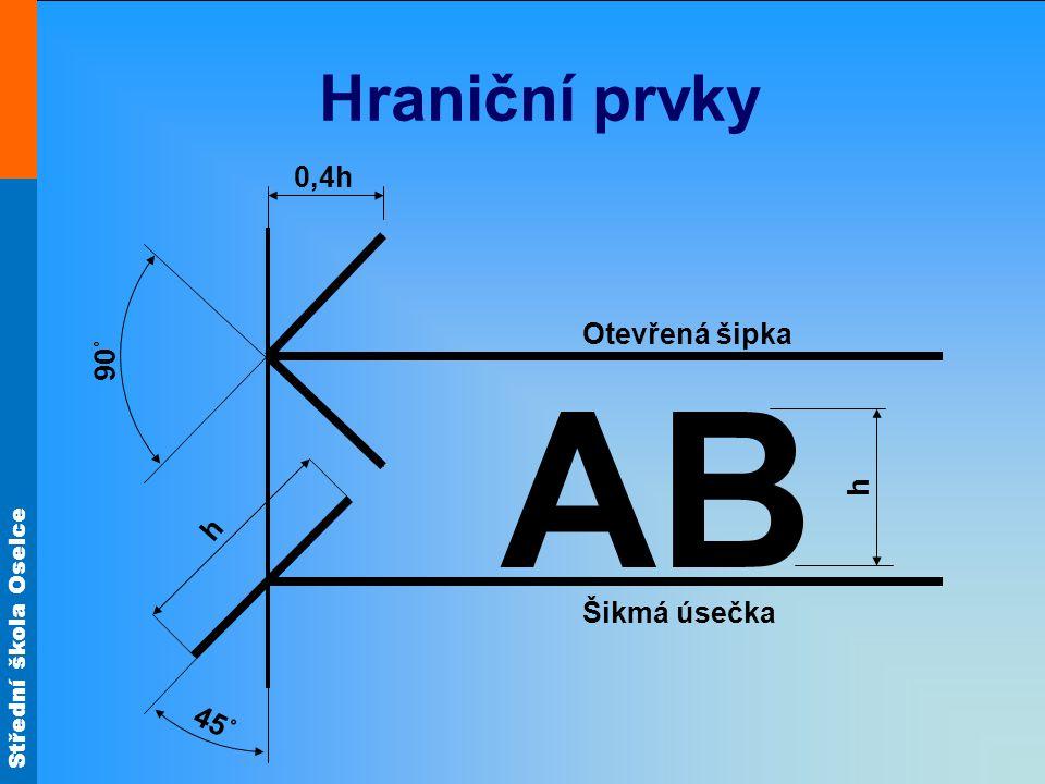 Hraniční prvky h 90˚ Otevřená šipka 0,4h 45˚ AB Šikmá úsečka