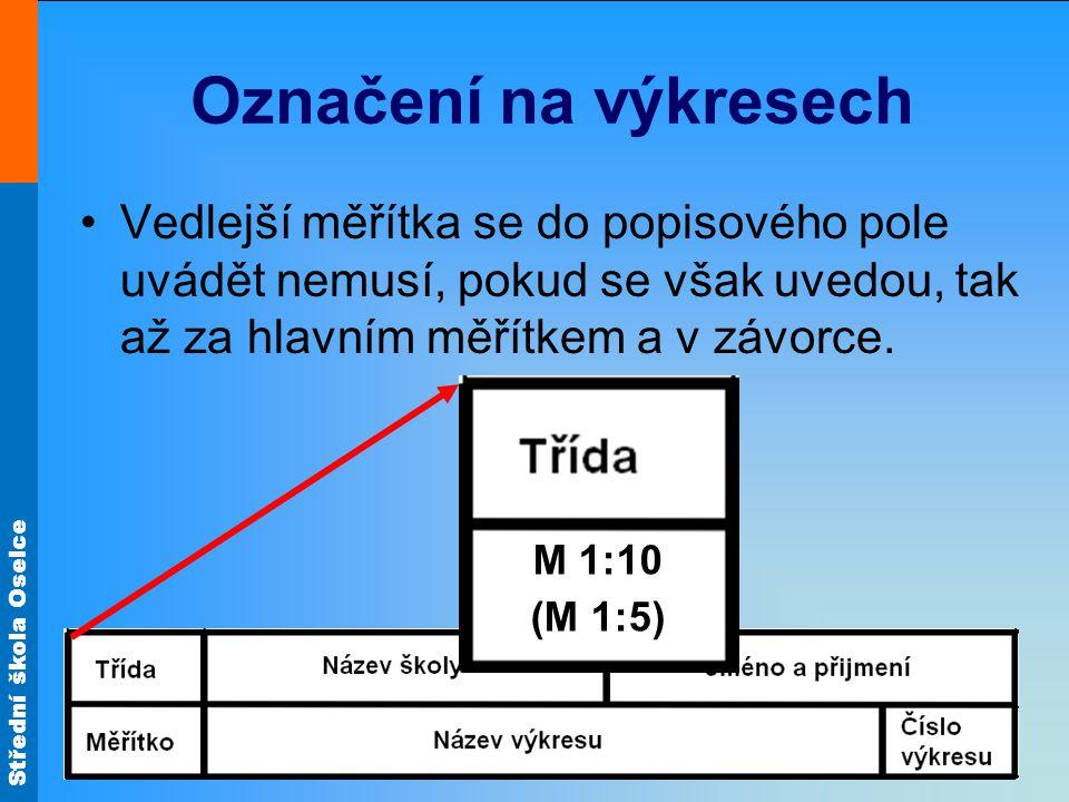 Označení na výkresech Vedlejší měřítka se do popisového pole uvádět nemusí, pokud se však uvedou, tak až za hlavním měřítkem a v závorce.