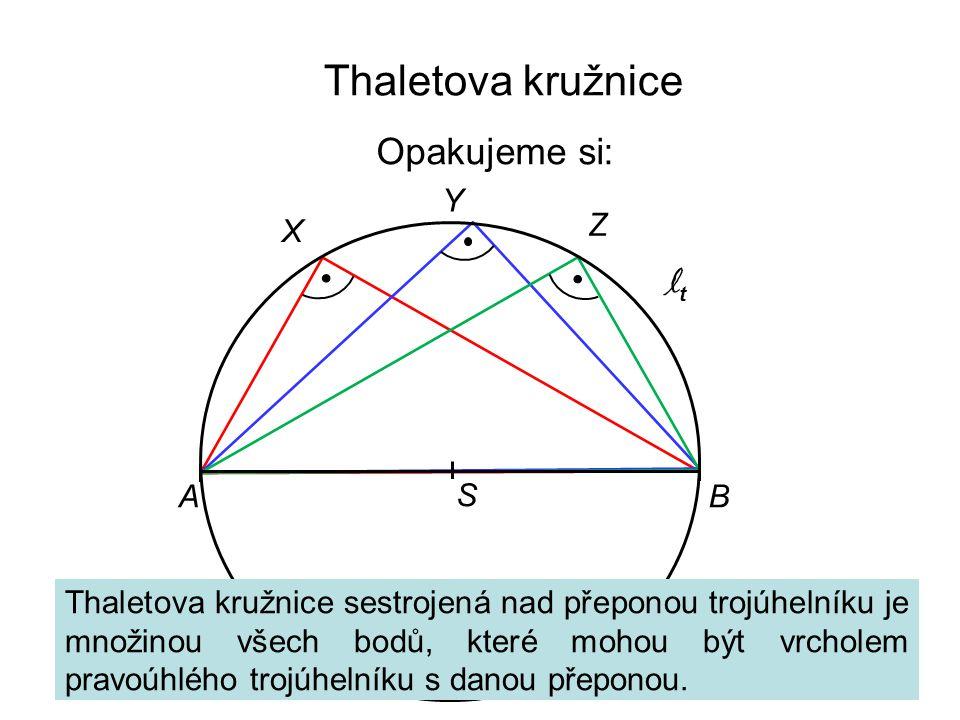 Thaletova kružnice Opakujeme si: Y Z X lt A B S