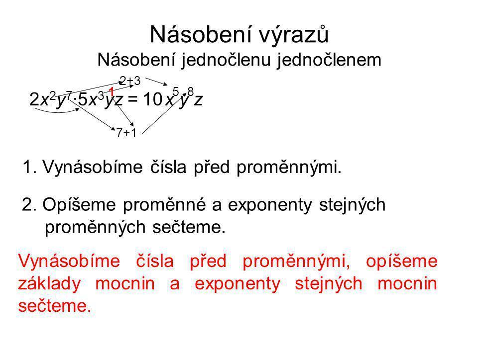 Násobení výrazů Násobení jednočlenu jednočlenem