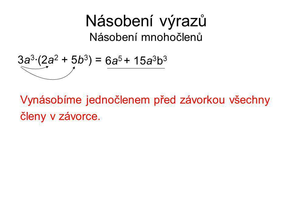 Násobení výrazů Násobení mnohočlenů