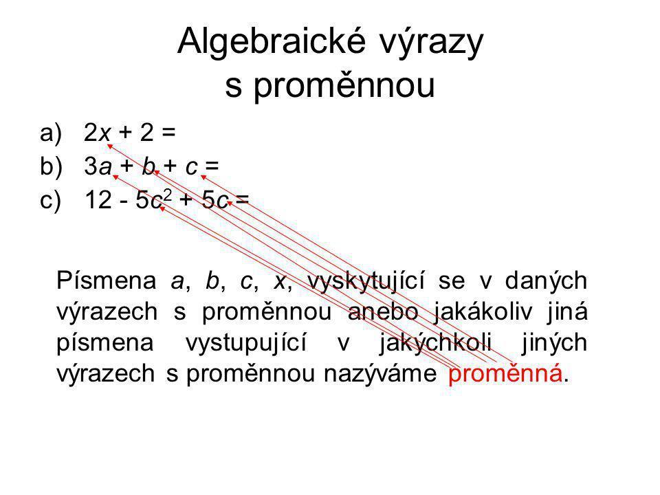 Algebraické výrazy s proměnnou