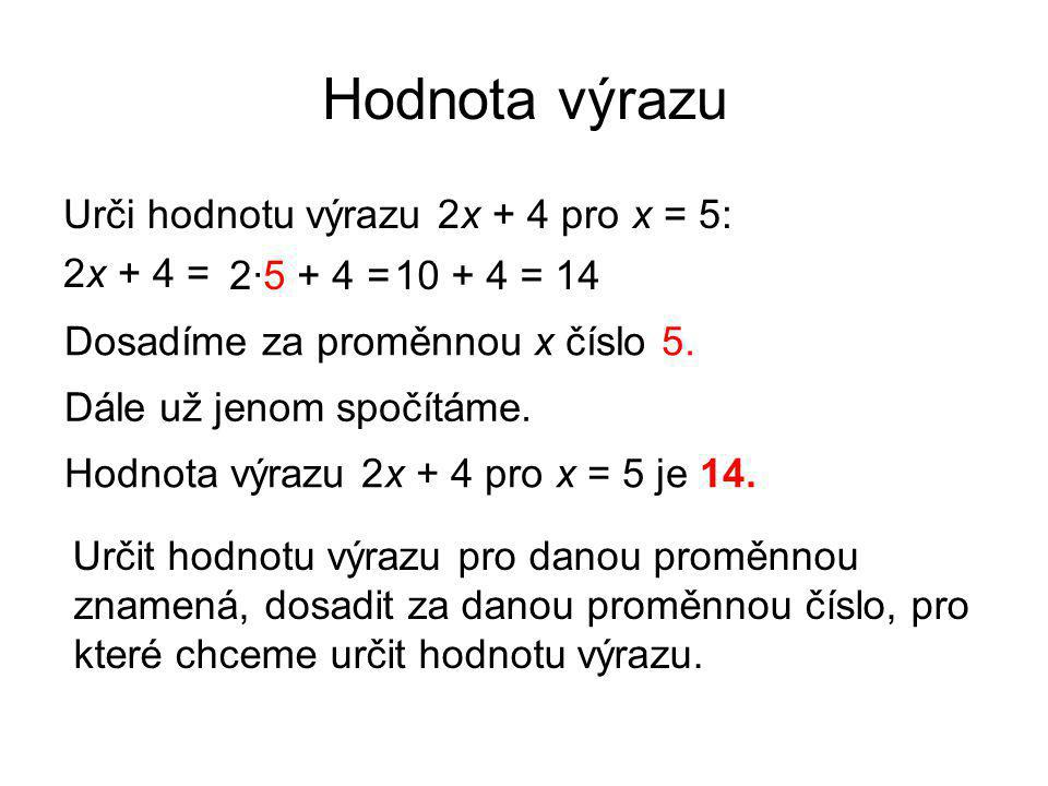 Hodnota výrazu Urči hodnotu výrazu 2x + 4 pro x = 5: 2x + 4 =