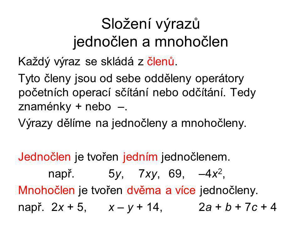 Složení výrazů jednočlen a mnohočlen
