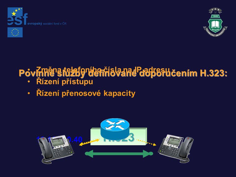 Povinné služby definované doporučením H.323: