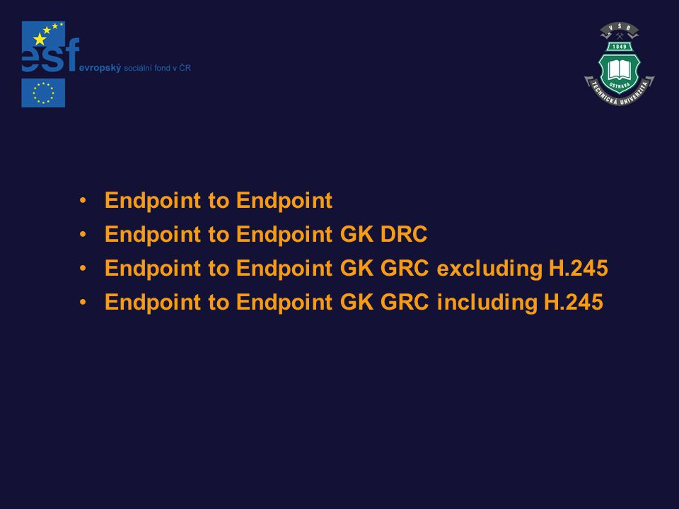 Endpoint to Endpoint Endpoint to Endpoint GK DRC. Endpoint to Endpoint GK GRC excluding H.245.