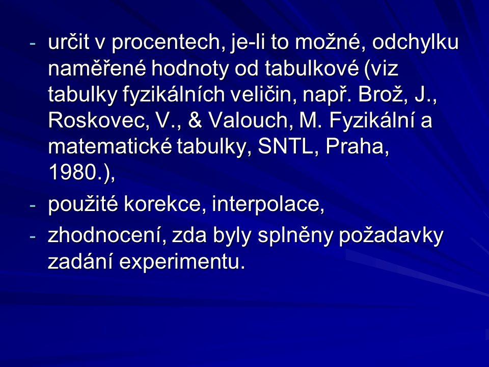 určit v procentech, je-li to možné, odchylku naměřené hodnoty od tabulkové (viz tabulky fyzikálních veličin, např. Brož, J., Roskovec, V., & Valouch, M. Fyzikální a matematické tabulky, SNTL, Praha, 1980.),