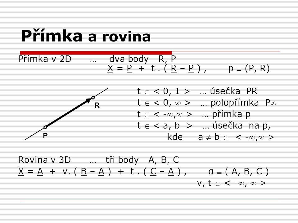 Přímka a rovina Přímka v 2D … dva body R, P X = P + t . ( R – P ) , p  (P, R)