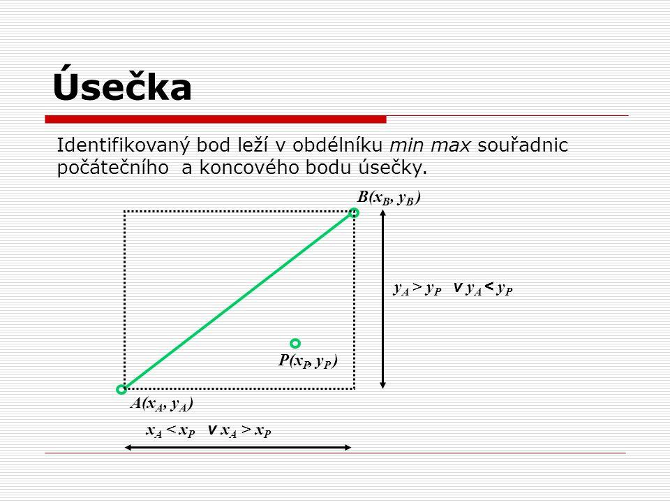 Úsečka Identifikovaný bod leží v obdélníku min max souřadnic počátečního a koncového bodu úsečky. B(xB, yB )