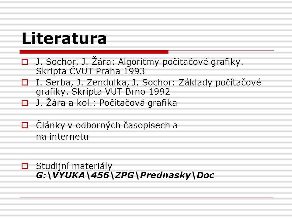 Literatura J. Sochor, J. Žára: Algoritmy počítačové grafiky. Skripta ČVUT Praha 1993.