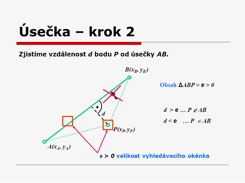 Úsečka – krok 2 Zjistíme vzdálenost d bodu P od úsečky AB. B(xB, yB )