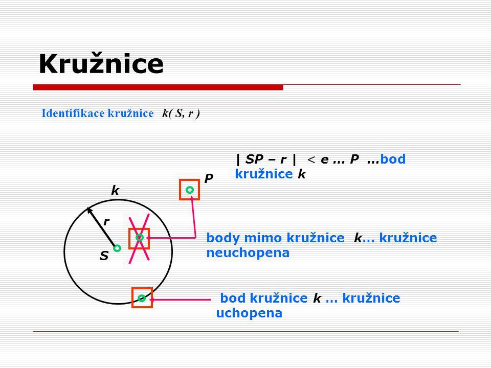 Kružnice Identifikace kružnice k( S, r )