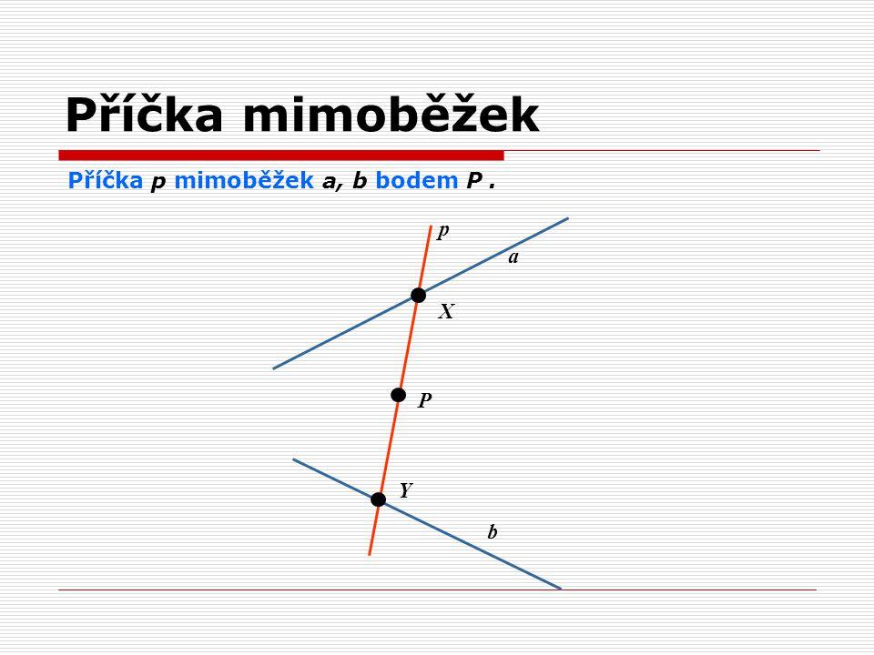 Příčka mimoběžek Příčka p mimoběžek a, b bodem P . p a X P Y b