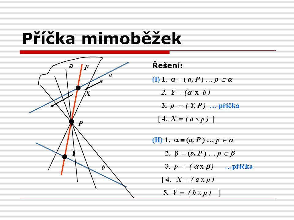 Příčka mimoběžek Řešení: (I) 1.   ( a, P ) … p   2. Y  ( x b )