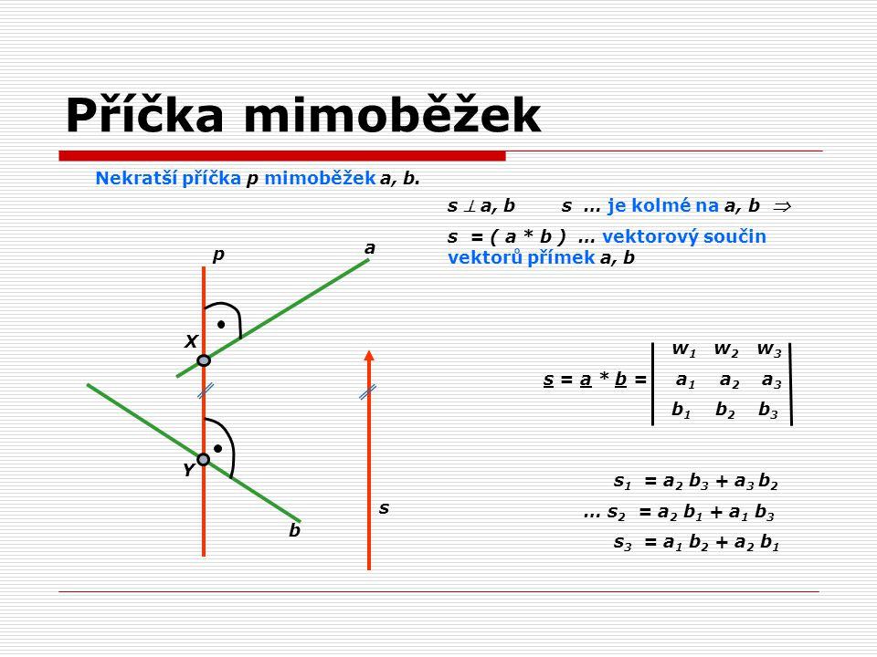 Příčka mimoběžek Nekratší příčka p mimoběžek a, b.