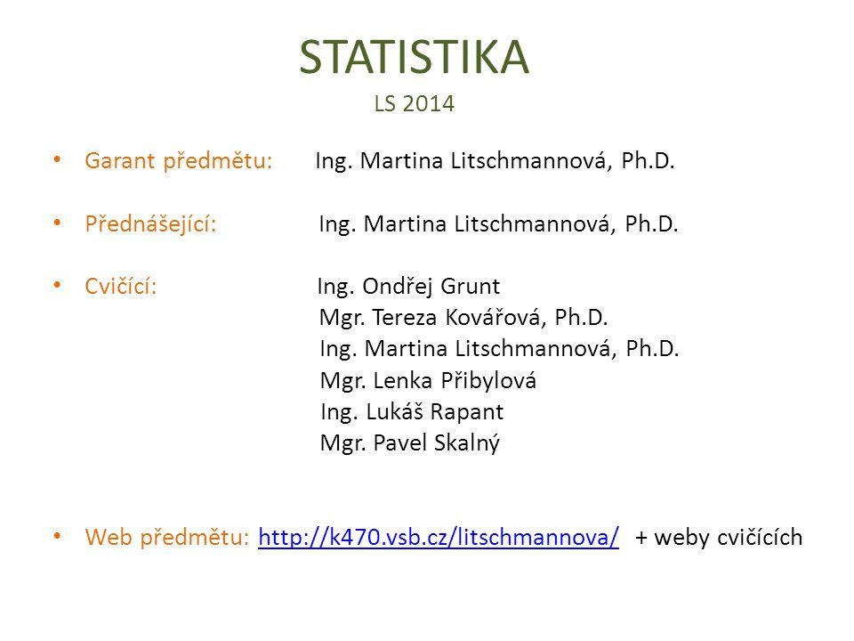 STATISTIKA LS 2014 Garant předmětu: Ing. Martina Litschmannová, Ph.D.